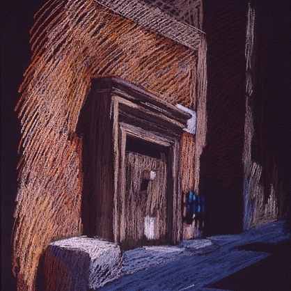 newberry-pythagora-street-rhodes-pastel-on-dark-paper-pc
