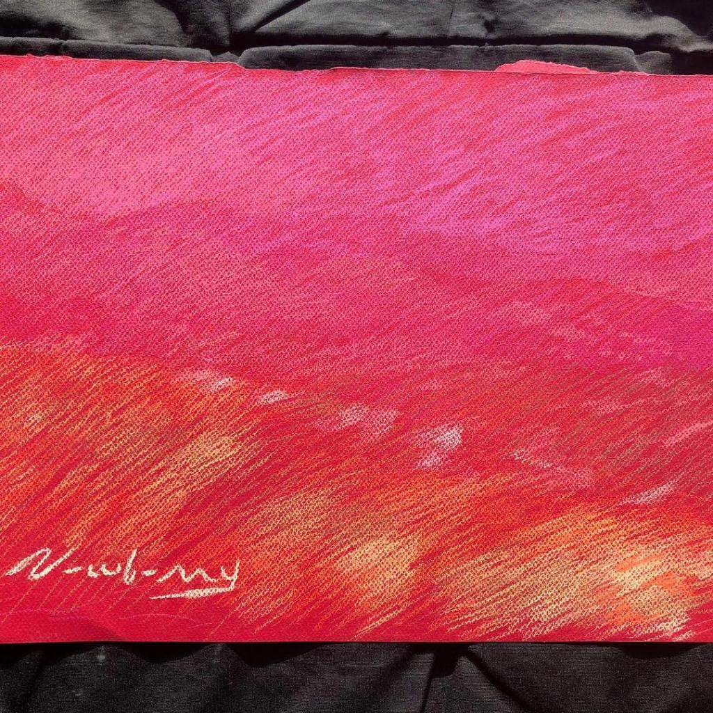 newberry-red-pink-gold-pastel-on-red-paper-sc