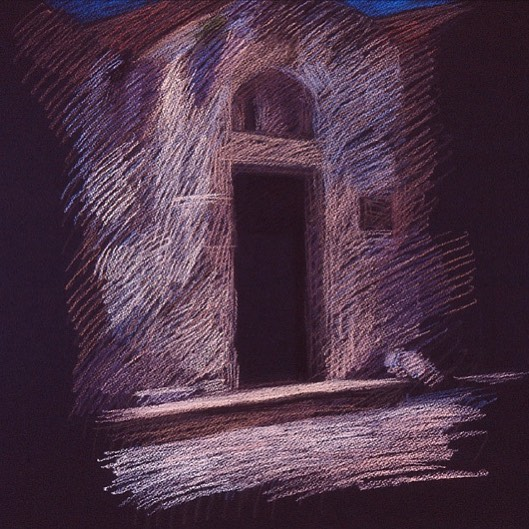 newberry-rhodes-church-pastel-on-dark-paper-pc
