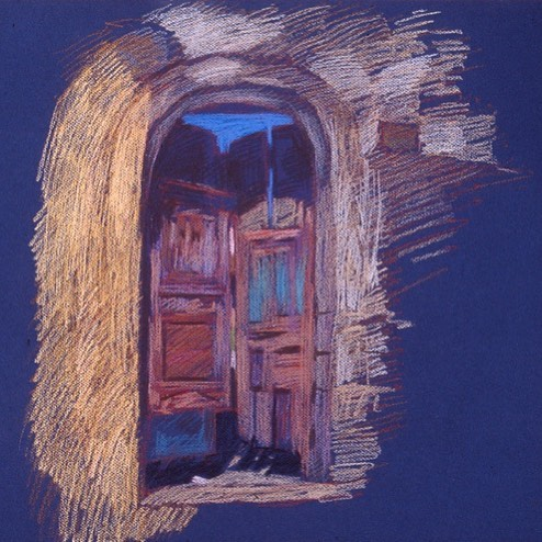 Rickety Courtyard Gate, Rhodes, pastel on dark paper, private collection