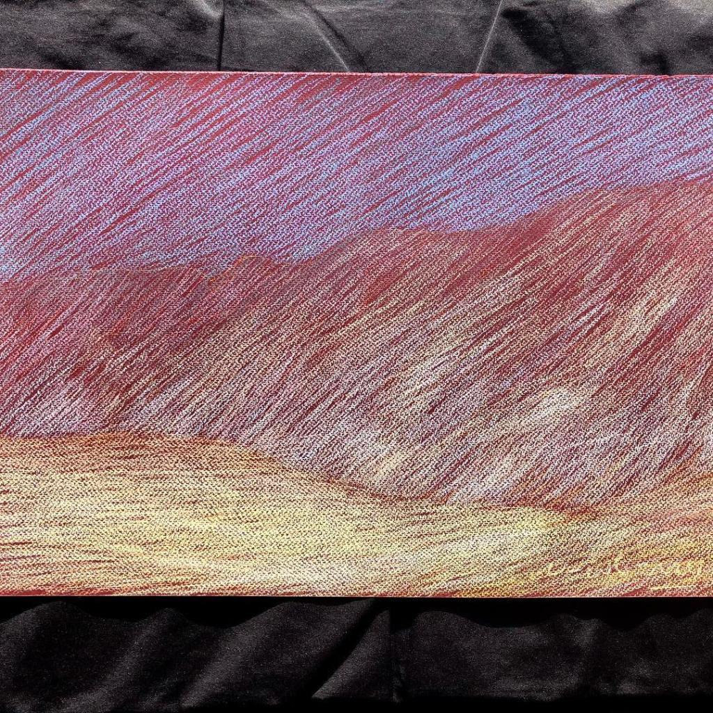 newberry-road-trip-pink-sky-pastel-on-dark-paper-sc