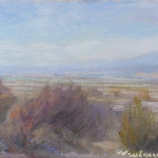 """Newberry, Route 66 Arid Brush, 2017, oil and pastel on panel, 9x12"""""""