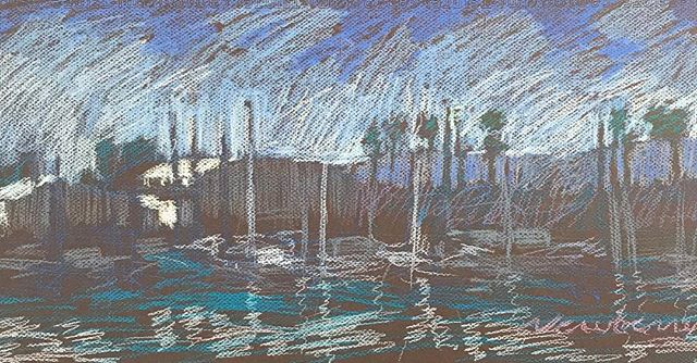 newberry-san-diego-marina-pastel-on-dark-paper-pc