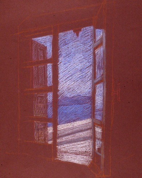 newberry-santorini-window-1-pastel-on-dark-paper-pc