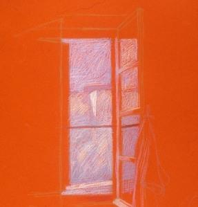 newberry-santorini-windows-2-pastel-on-red-paper-sc