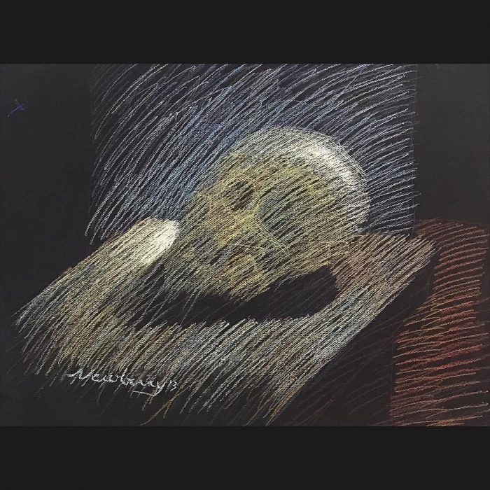 "Skull Sketch, pastel on dark paper, 19x25"""