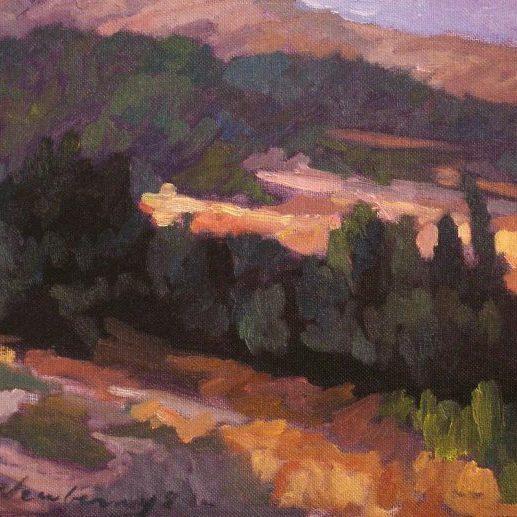 "Newberry, Falaraki Slope, 2008, oil on panel, 9x12"""