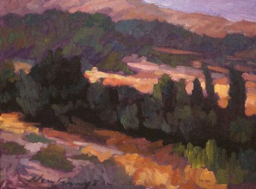 Newberry, Falaraki Slope, 2008, oil on panel, 9x12""