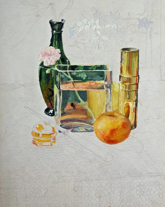 Newberry, A Carnation, unfinished 1977, acrylic on paper, 12x9""