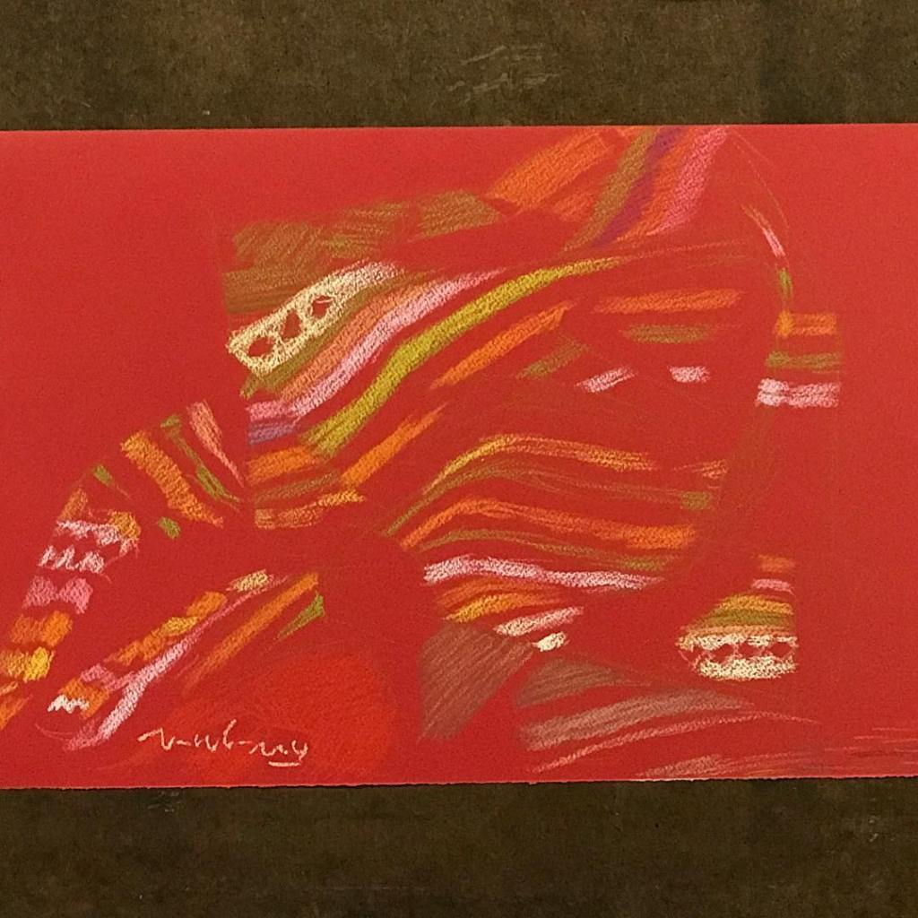newberry-stripe-light-demo-pastel-on-red-paper-sc