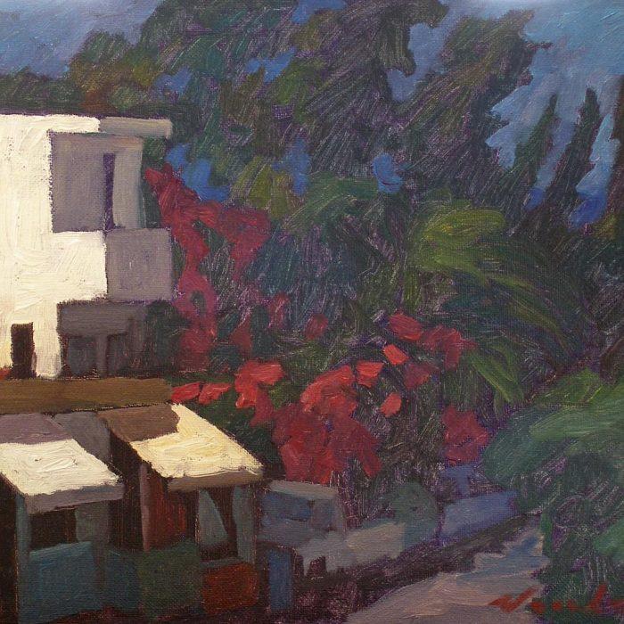 "Newberry, Rhodes Taverna, 2008, oil on panel, 9x12"""