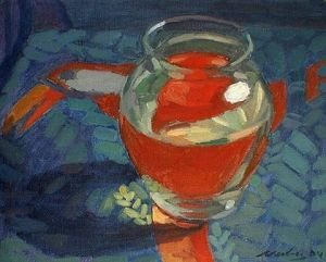 """Newberry, Toucan Table Glass Jar, 2004, oil on panel, 9x12"""""""