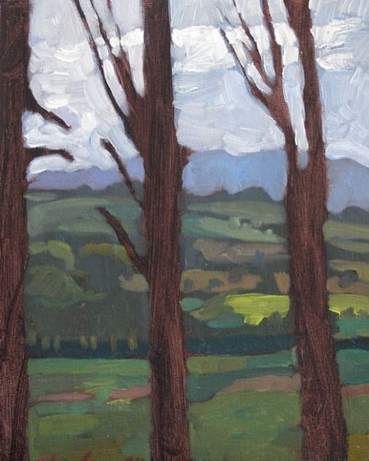 Newberry, Three Trees, 2008, oil on panel, 12x9""