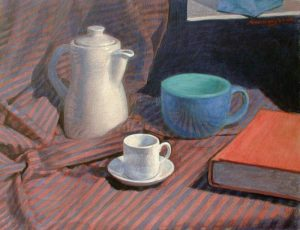 "Newberry, White Jar, 1999, acrylic on canvas, 18x24"""