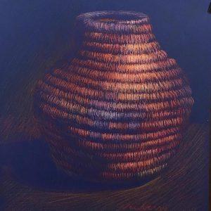 """Woven Basket 4, pastel on dark paper, 25x19"""""""