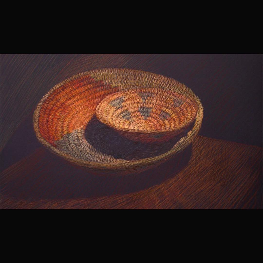 Newberry, Woven Baskets, pastel on dark paper,