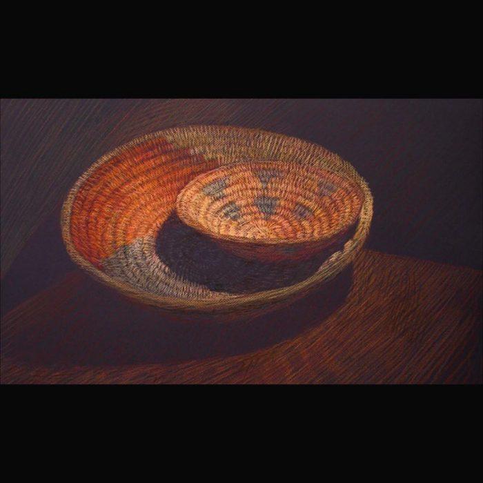 Newberry, Woven Baskets, pastel on dark paper,