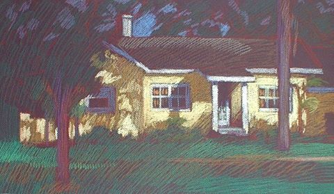 newberry-yellow-house-pastel-on-dark-paper-pc
