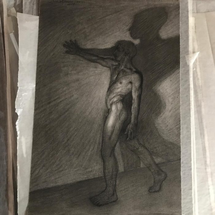 newberry_against_wall_male_nude_charcoal