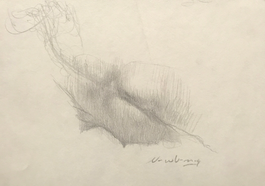Reclining Woman, graphite, 5x8""