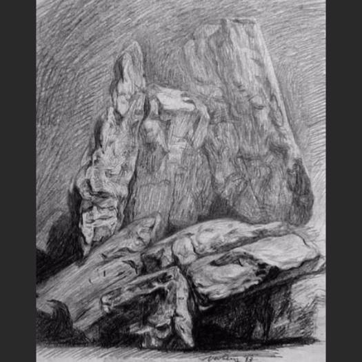 newberry_rock_study_waterfall_graphite