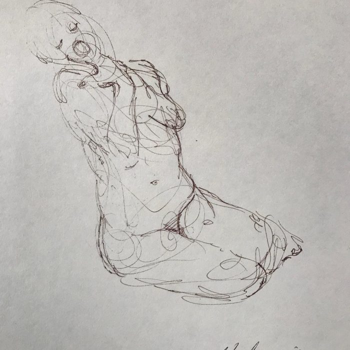 newberry_sketch_yawning_woman_nude_ink