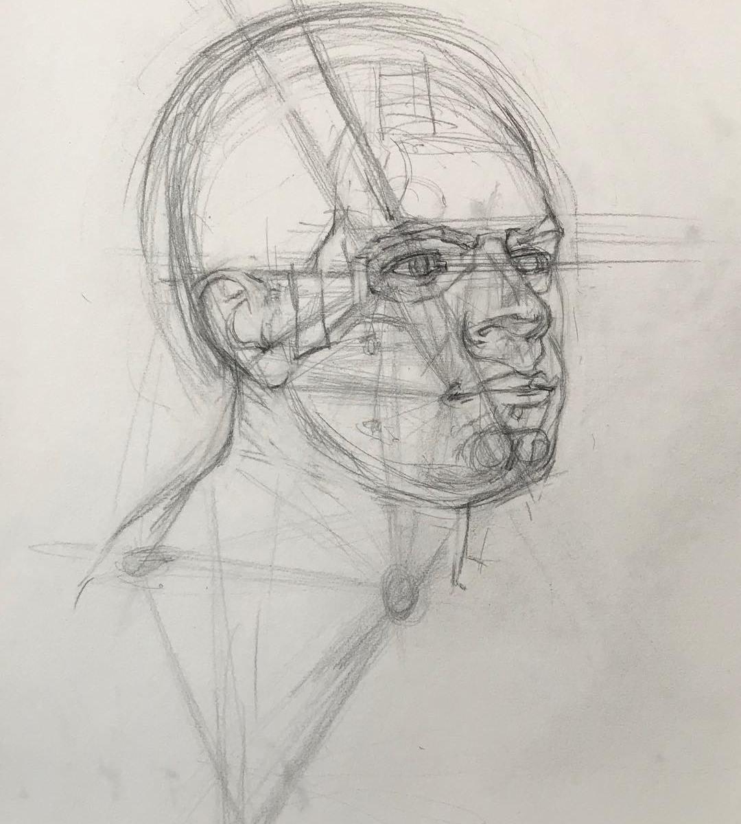 Newberry, Triangulation Portrait Study, Graphite