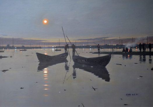 Olaku's use of twilight to convey depth, light, shadow, and reflections.