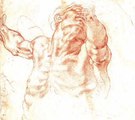 Michelangelo, Study of Haman for the Sistine Chapel, 1511, red chalk.