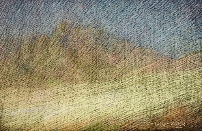 Newberry, California High Desert, pastel on dark paper