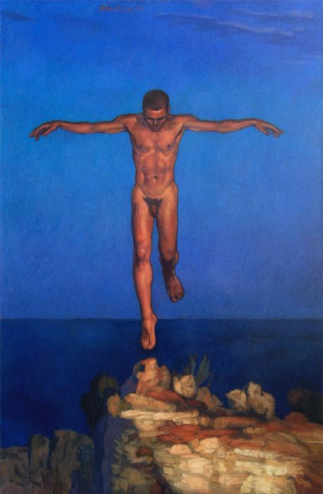 "Newberry, Icarus Landing, acrylic on canvas, 55""x36"", studio collection"