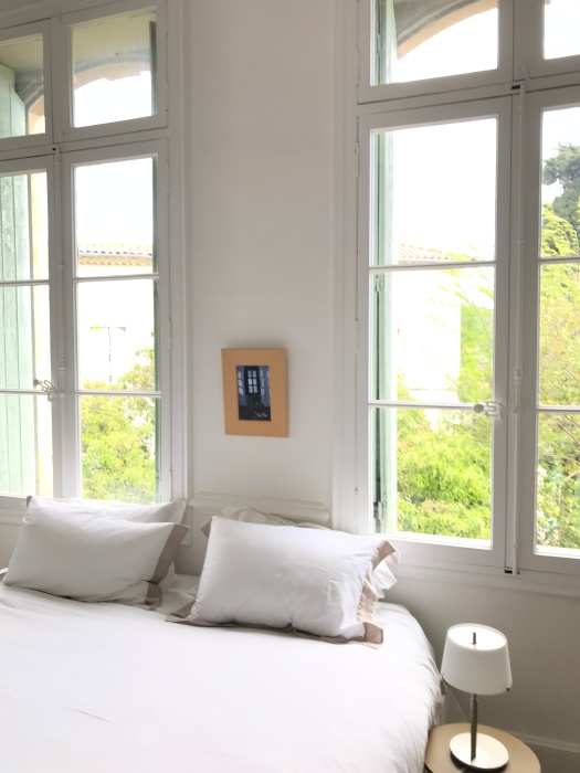 My painting curtains in the guest bedroom in Beziers