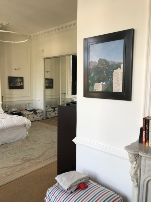 Newberry, my friends' master bedroom in Beziers with 2 of my paintings.