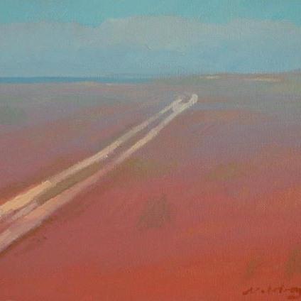 "Newberry, Sunburned Sand, 2005, oil on panel, 8x10"""