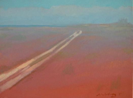 Newberry, Sunburned Sand, 2005, oil on panel, 8x10""