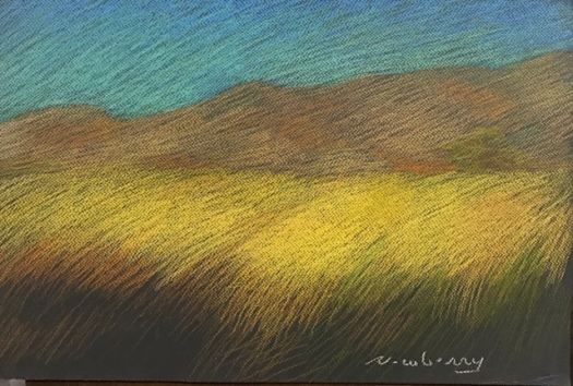 Newberry, Yellow Field, pastel