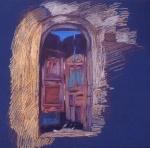 Newberry, Rickety Gate in Rhodes, pastel