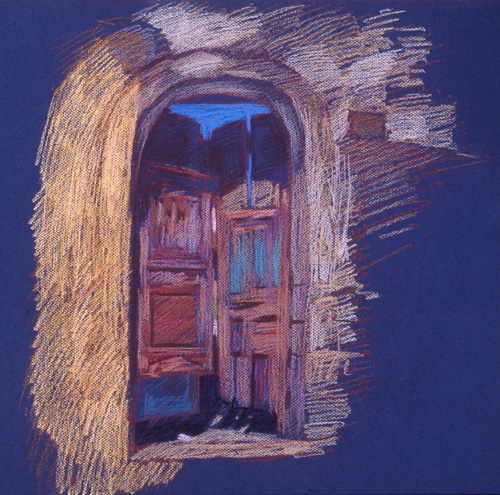 Newberry, Rickety Gate in Rhodes, pastel