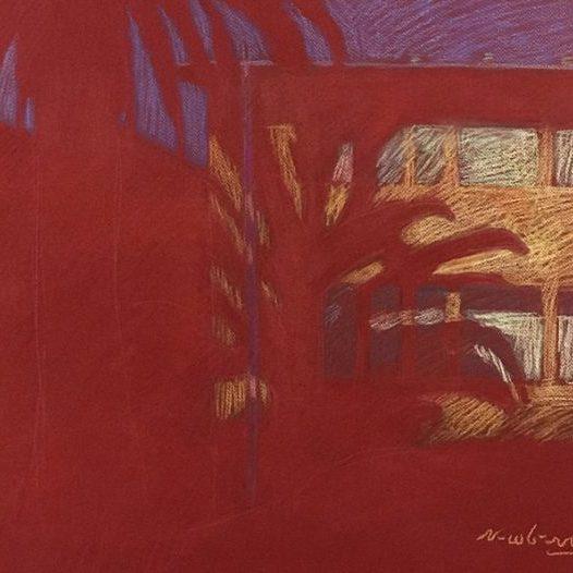 Newberry, Red Palm in Santa Monica, pastel