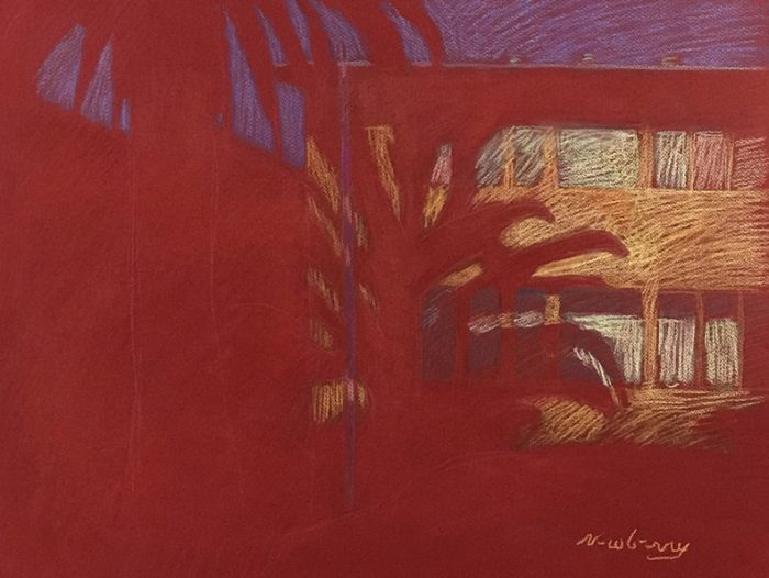 Newberry, Red Palm in Santa Monica, pastel