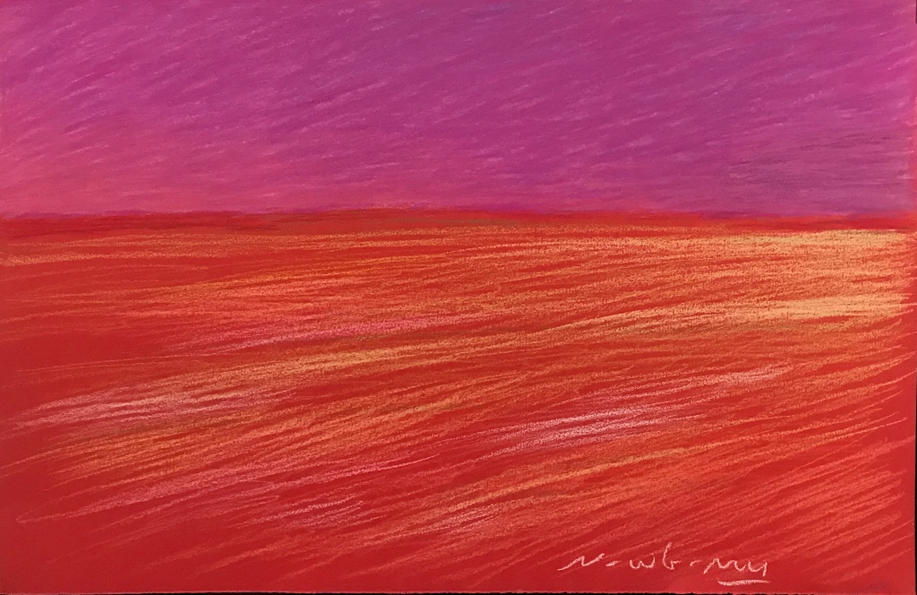 Newberry, Red Landscape, pastel