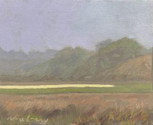 """Newberry, Lagoon, 2019, oil on panel, 8x10"""""""