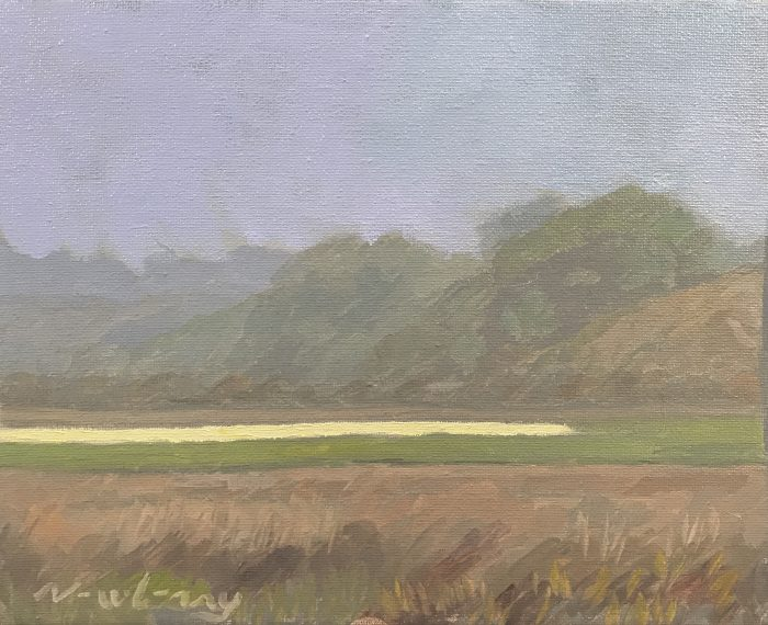 Newberry, Lagoon, 2019, oil on panel, 8x10""