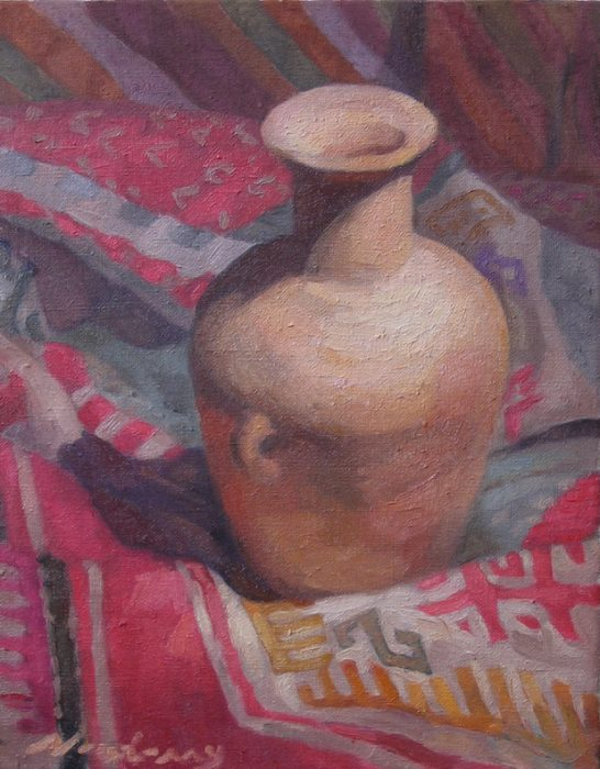 Newberry, Clay Jar with Burnt Umber Shadows, 2017, oil on linen, 10x8""