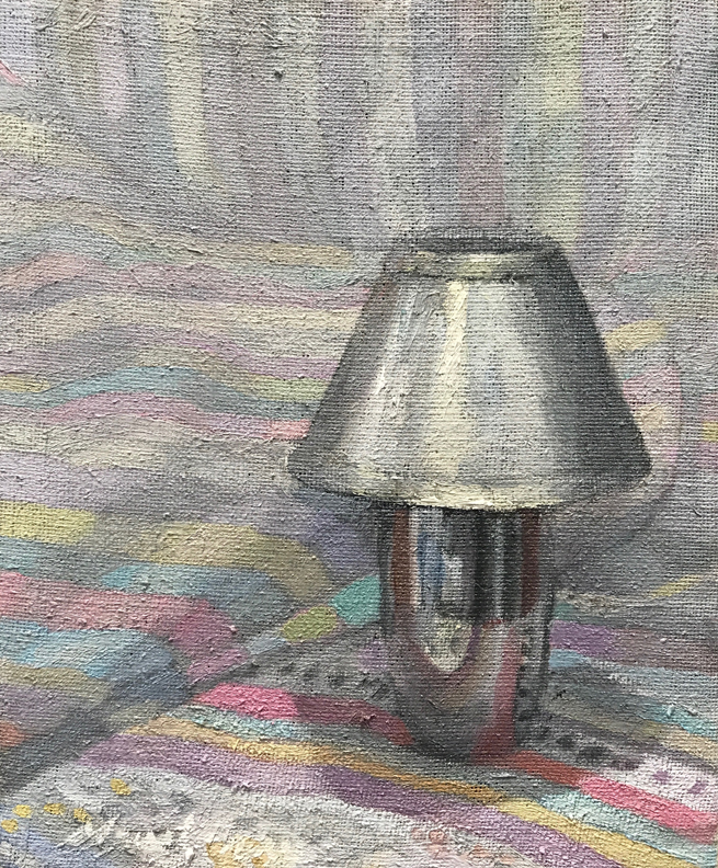 Newberry, Lamp with Gray Shadows, oil on linen, 10x8""