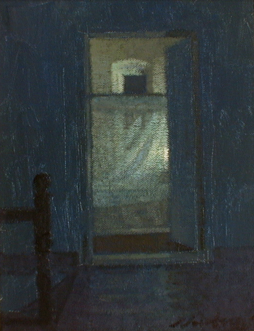Newberry, Rhodes Bedroom, 1997, acrylic on panel, 10x8""