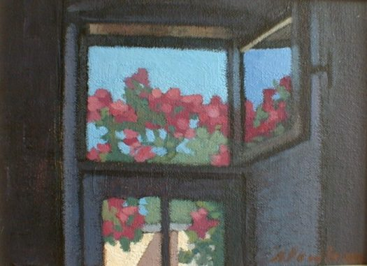 Newberry, Bedroom Window, 1997, acrylic on panel, 10x8""