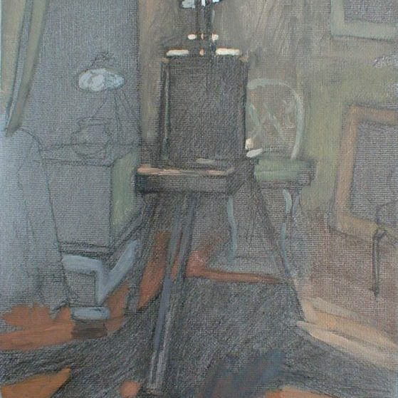 Newberry, Easel Daytime, 2004, acrylic on panel, 12x9""
