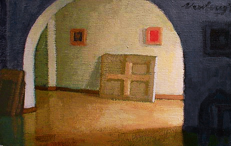 Newberry, Rhodes Hallway, 2001, acrylic on panel, 9x12""