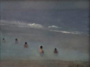 "Newberry, Florida Bathers, 2005, oil on panel, 9x12"""